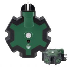UltraPro 5-Outlet Heavy Duty Outdoor Wall Tap with Power Indicator Light and Hook, Green