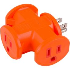 Philips 3-Outlet T-Shaped Adapter, Orange