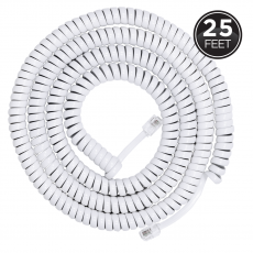 Power Gear 25ft. Coiled Phone Line Cord, White
