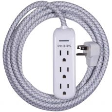 Philips 3-Outlet 8 ft. Braided Extension Cord, White