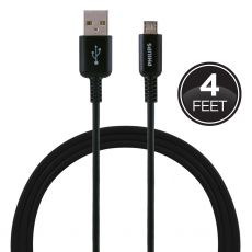 Philips 4 ft. Micro USB Charging Cable, Black