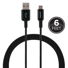 Philips 6 ft. Micro USB Charging Cable, Black