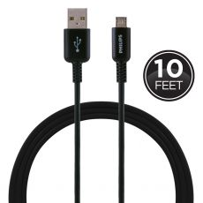 Philips 10 ft. Micro USB Charging Cable, Black