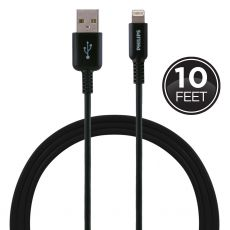Philips 10 ft. Lightning Charging Cable, Black