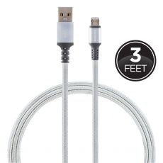 Philips 3ft. USB-A Lightning Charging Cable with Braided Cord, Silver