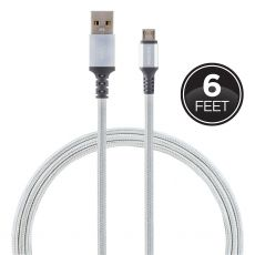 Philips 6ft. USB-A to Micro USB Braided Charging Cable, Silver