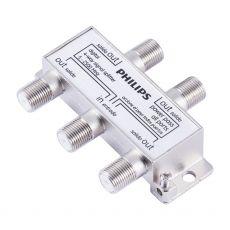 Philips Digital Coaxial 4-Way Signal Splitter, Silver
