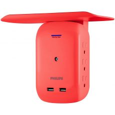Philips 6-Outlet 2-USB Wall Tap with Surge Protection and Device Shelf, Coral