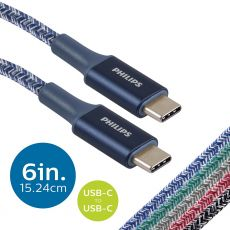 Philips 6in. USB-C to USB-C Braided Charging Cable, Blue