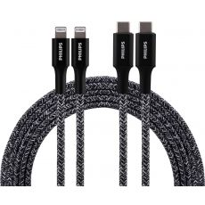 Philips 6ft. USB-C to Lightning Charging Cable with Braided Cord, 2 Pack, Black