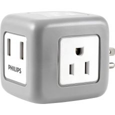 Philips 3-Outlet 2-USB Wall Tap with Surge Protection, White/Gray