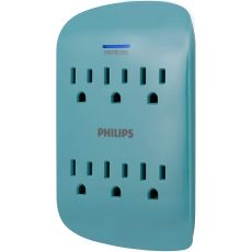 Philips 6-Outlet Wall Tap with Surge Protection, Teal