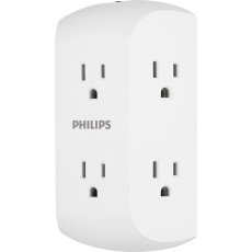 Philips 6-Outlet Wall Tap with Resettable Circuit Breaker, White