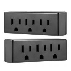 Philips 3-Outlet Wall Tap, 2 Pack, Black