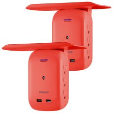 Philips 6-Outlet 2-USB Wall Tap with Surge Protection and Device Shelf, 2 Pack, Coral