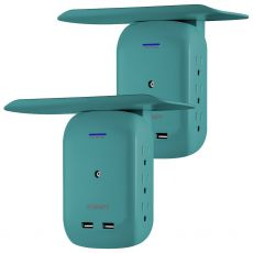 Philips 6-Outlet 2-USB Wall Tap with Surge Protection and Device Shelf, 2 Pack, Teal