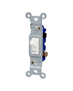 Grounding Single Pole Toggle Light Switch, White