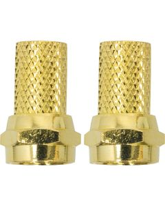 GE RG6 Twist-On Coaxile F-Connector, 2 Pack, Gold