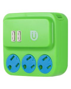 Uber 3-Outlet 2-USB Charging Wall Tap, Green/Blue