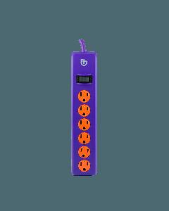 Uber 6-Outlet 4 ft. Power Strip, Purple/Orange