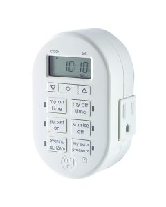 myTouchSmart Indoor Plug-In SunSmart Digital Timer, White