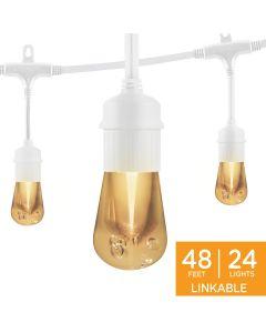 Enbrighten Vintage LED Cafe Lights, 24 Bulbs, 48ft. White Cord