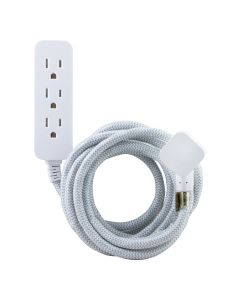 GE Pro 3-Outlet 8 ft. Braided Extension Cord with Surge Protection, White