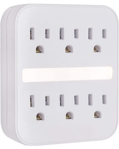 GE 6-Outlet Wall Tap with Surge Protection and Night Light, White