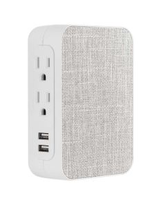 GE 5-Outlet 2-USB Fabric Surge Protector, Gray