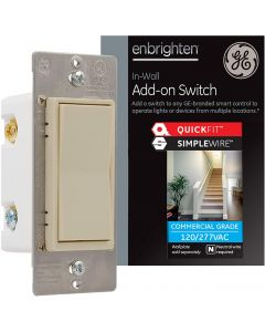GE Enbrighten Z-Wave Add-On Switch with QuickFit and SimpleWire, Light Almond