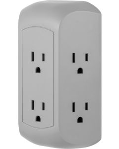 GE UltraPro 6-Outlet Wall Tap with Surge Protection, Gray