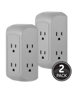 GE UltraPro 6-Outlet Wall Tap with Surge Protection, 2 Pack, Gray