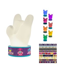 Trolls World Tour Color Changing Squishy Rock Hand LED Night Light with Changeable Bracelets, Blue