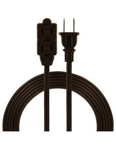 GE 3-Outlet 9ft. Extension Cord with Tamper Guard Safety Covers, Brown