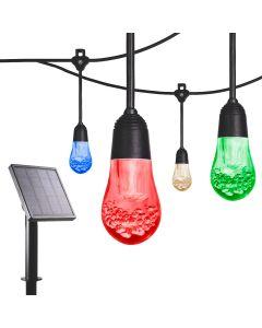 Enbrighten Solar Light Bundle - USB-Powered Color Changing LED Cafe Lights (24 Bulbs, 24ft. Black Cord) and Solar Panel Power Source