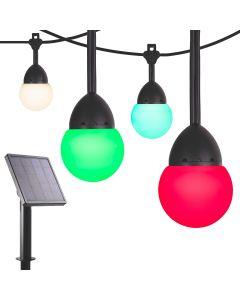 Enbrighten Solar Light Bundle - Bistro USB-Powered Color-Changing LED Cafe Lights (24 Bulbs, 24ft. Black Cord) and Solar Panel Power Source