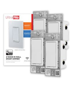 UltraPro Z-Wave In-Wall Smart Dimmer with QuickFit and SimpleWire, 4 Pack, White