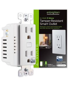 Enbrighten Z-Wave In-Wall Tamper-Resistant Smart Outlet, White