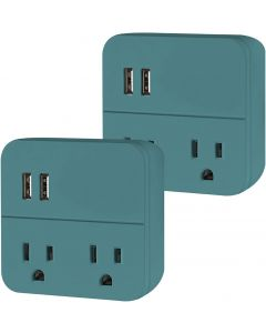 Cordinate 2-Outlet 2-USB Wall Tap with Surge Protection, 2 Pack, Teal
