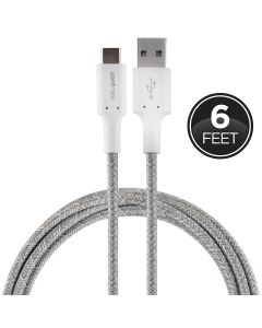 Cordinate 6ft. USB-A to USB-C Braided Charging Cable, Gray/White