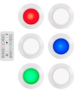 Energizer Battery Operated Color-Changing Dimmable LED Puck Light with Remote, 6 Pack, White