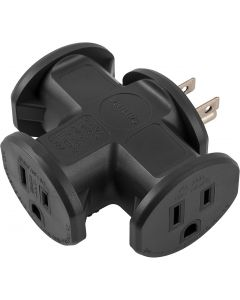 Philips 3-Outlet T-Shaped Adapter, Black