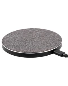 Philips Round Fabric Wireless Qi-Certified Phone Charger, Gray