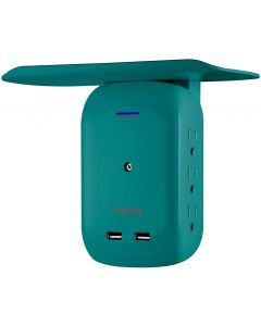 Philips 6-Outlet 2-USB Wall Tap with Surge Protection and Device Shelf, Teal