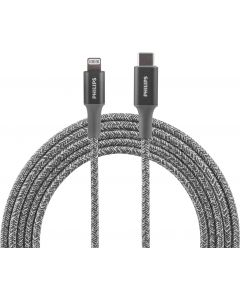 Philips 6ft. USB-C to Lightning Charging Cable with Braided Extension Cord, Gray