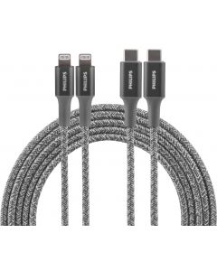 Philips 6ft. USB-C to Lightning Charging Cable with Braided Cord, 2 Pack, Gray
