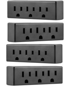 Philips 3-Outlet Wall Tap, 4 Pack, Black