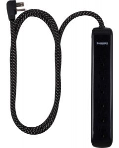Philips 6-Outlet 4ft. Surge Protector with Braided Cord, Black