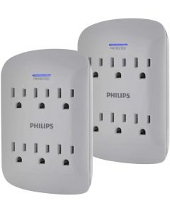 Philips 6-Outlet Wall Tap with Surge Protection, 2 Pack, Gray
