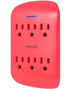 Philips 6-Outlet Wall Tap with Surge Protection, Coral